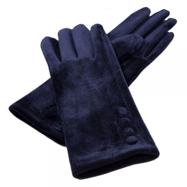 Touch Screen Smart Gloves - Fleece Lined  JG595 NAVY Velour with Buttons -