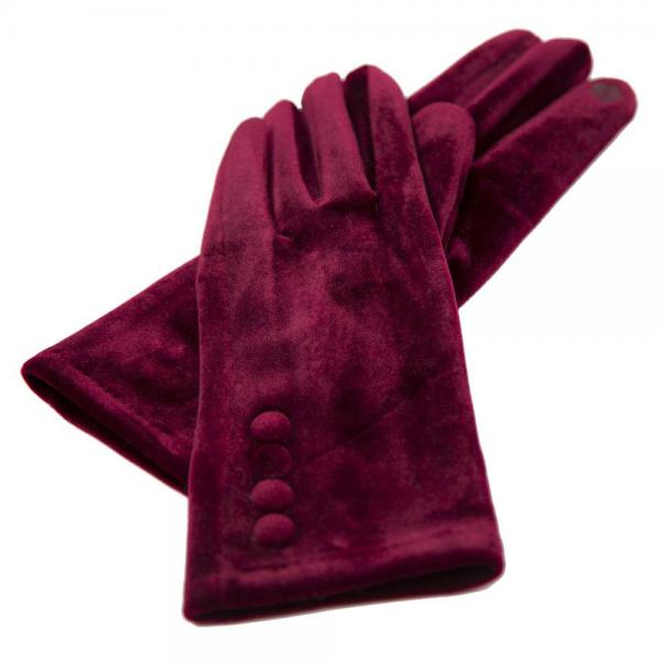 Touch Screen Smart Gloves - Fleece Lined  JG595 WINE Velour with Buttons -