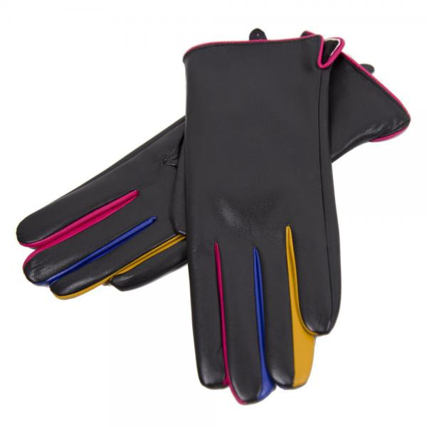 Touch Screen Smart Gloves - Fleece Lined  JG808 BLACK Faux Leather with Multi Color Accents -