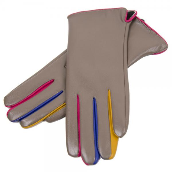 Touch Screen Smart Gloves - Fleece Lined  JG808 KHAKI Faux Leather with Multi Color Accents -