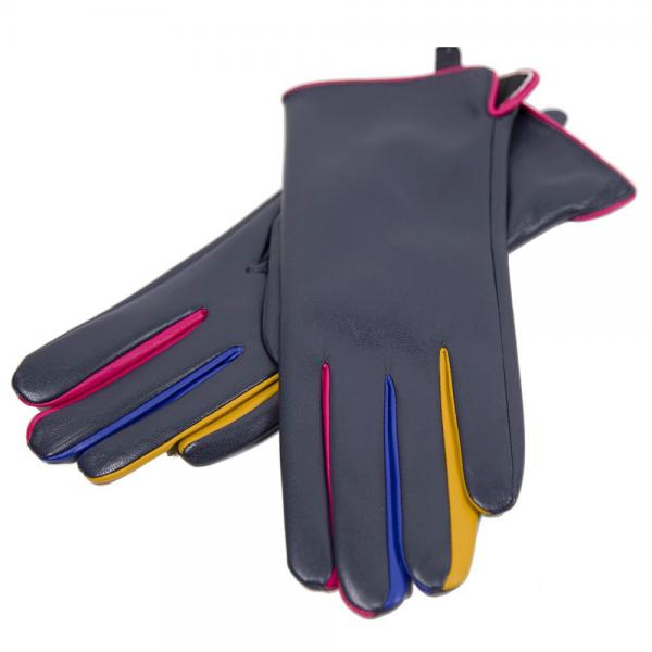 Touch Screen Smart Gloves - Fleece Lined  JG808 NAVY Faux Leather with Multi Color Accents -