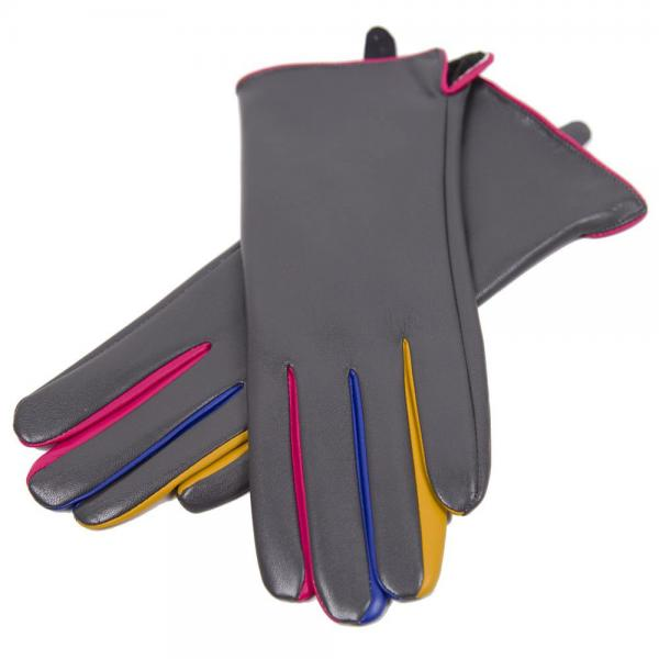 Touch Screen Smart Gloves - Fleece Lined  JG808 GREY Faux Leather with Multi Color Accents -