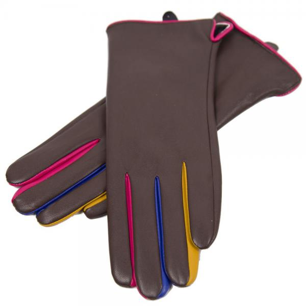Touch Screen Smart Gloves - Fleece Lined  JG808 COFFEE Faux Leather with Multi Color Accents -