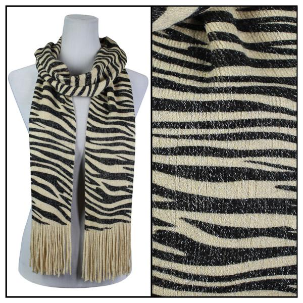 wholesale Oblong Scarves - Metallic Animal 2017 & 2018 Zebra 2017 - Beige -