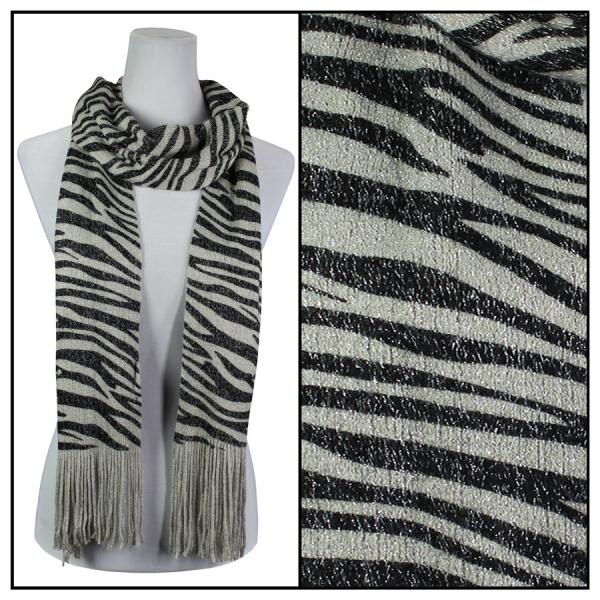 wholesale Oblong Scarves - Metallic Animal 2017 & 2018 Zebra 2017 - Grey -