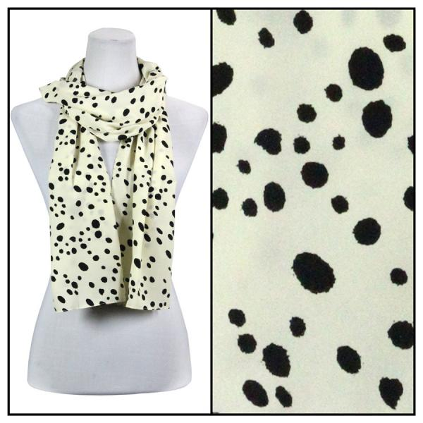 wholesale Oblong Scarves - Charmeuse* Dalmatian Print 3160 - Beige -