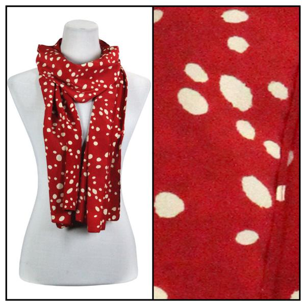 wholesale Oblong Scarves - Charmeuse* Dalmatian Print 3160 - Red -