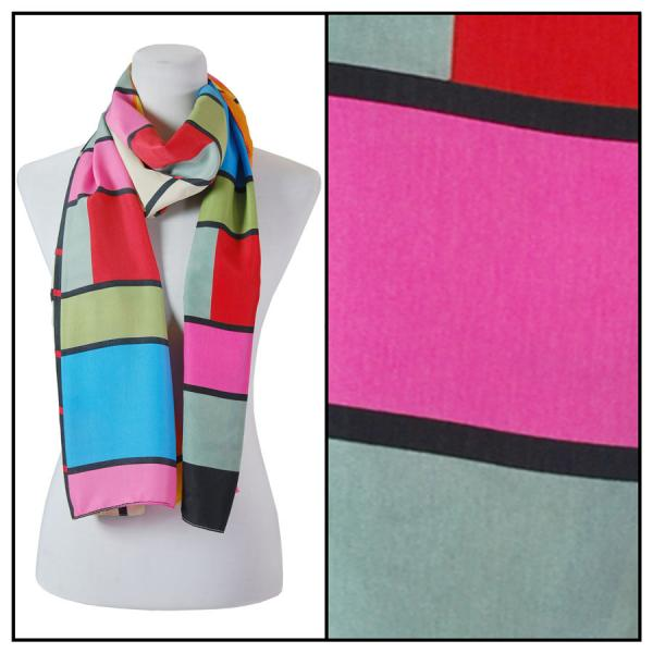 wholesale Oblong Scarves - Charmeuse* Geometric 3161 - Pink -