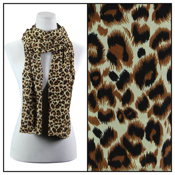 wholesale Oblong Scarves - Charmeuse* Leopard Print 3162 - Brown -