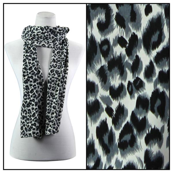 wholesale Oblong Scarves - Charmeuse* Leopard Print 3162 - Grey -