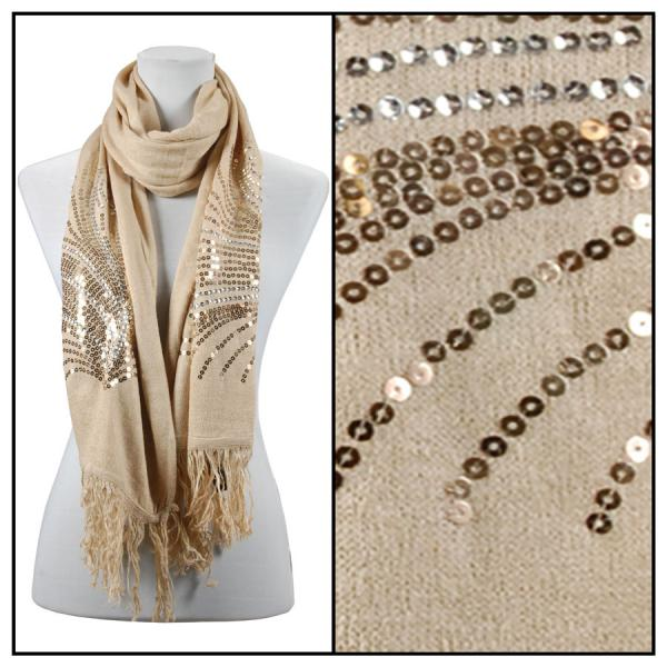 wholesale Oblong Scarves - Sequined Cashmere Feel*4109 Abstract 4109 - Beige -