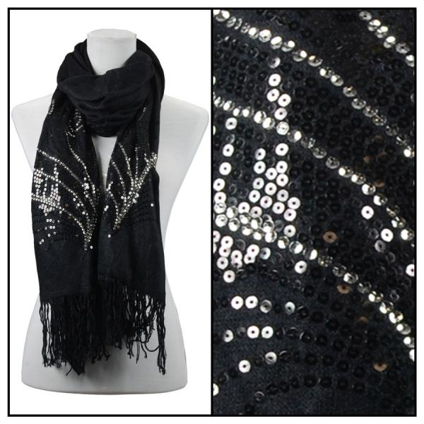 wholesale Oblong Scarves - Sequined Cashmere Feel*4109 Abstract 4109 - Black -