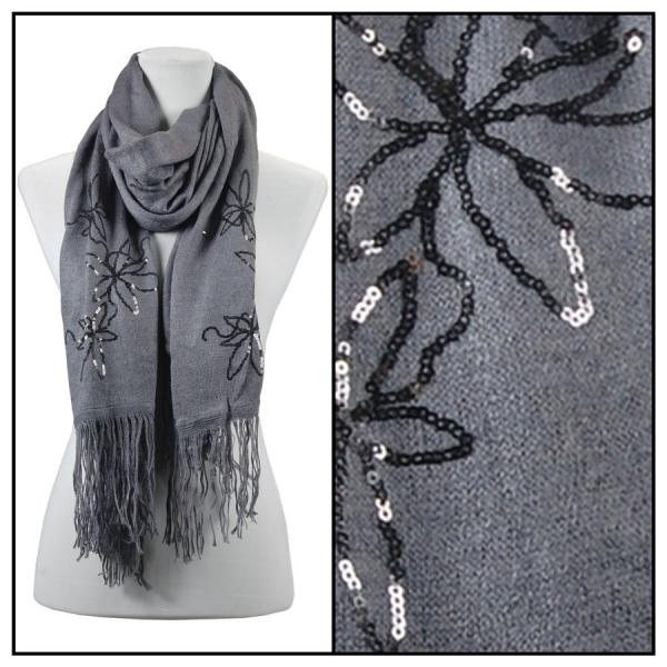wholesale Oblong Scarves - Sequined Cashmere Feel*4109 Floral 4108 - Grey -