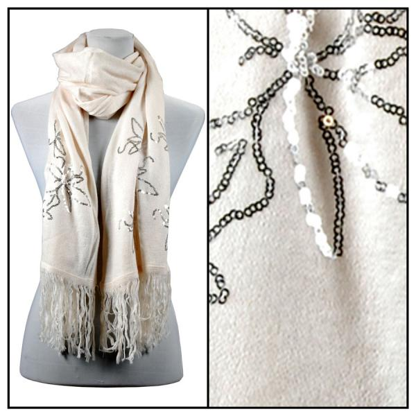 wholesale Oblong Scarves - Sequined Cashmere Feel*4109 Floral 4108 - Off White -