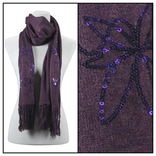 wholesale Oblong Scarves - Sequined Cashmere Feel*4109 Floral 4108 - Purple -