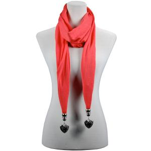 wholesale Fob Pendant Scarves Etched Heart - Coral -
