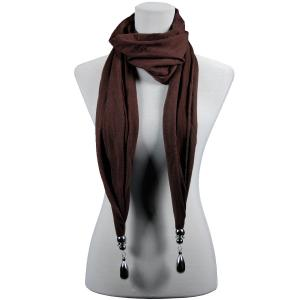wholesale Fob Pendant Scarves Hanging Teardrop - Dark Brown -