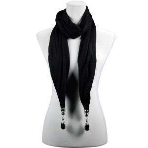 wholesale Fob Pendant Scarves Hanging Teardrop - Black -