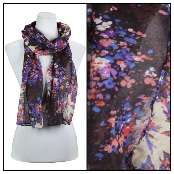 wholesale Cotton Feel Oblong Summer Scarves  Abstract Floral 3138 - Brown Cotton Feel Oblong Summer Scarf -
