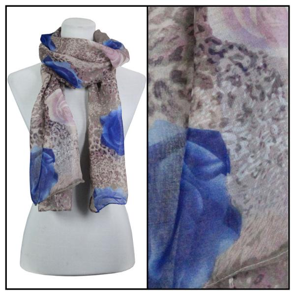 wholesale Cotton Feel Oblong Summer Scarves  Leopard & Roses 3132 - Purple -