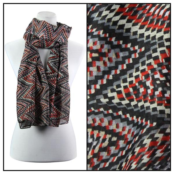 wholesale Cotton Feel Oblong Summer Scarves  Zig Zag 3144 - Black -