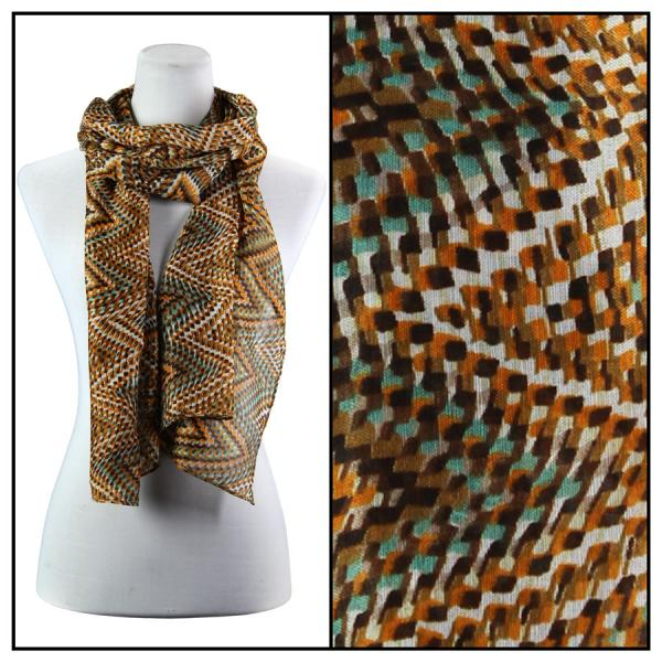 wholesale Cotton Feel Oblong Summer Scarves  Zig Zag 3144 - Brown Cotton Feel Oblong Summer Scarf -
