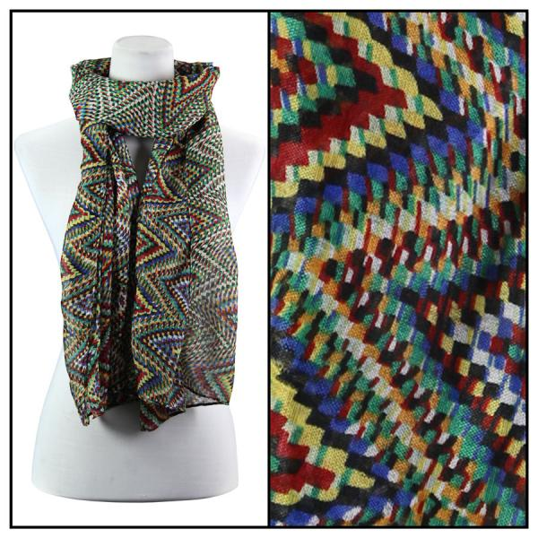 wholesale Cotton Feel Oblong Summer Scarves  Zig Zag 3144 - Green Cotton Feel Oblong Summer Scarf -