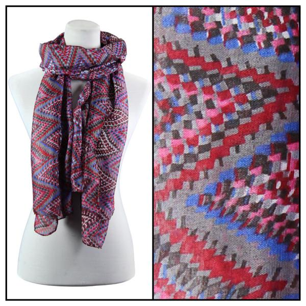 wholesale Cotton Feel Oblong Summer Scarves  Zig Zag 3144 - Pink -