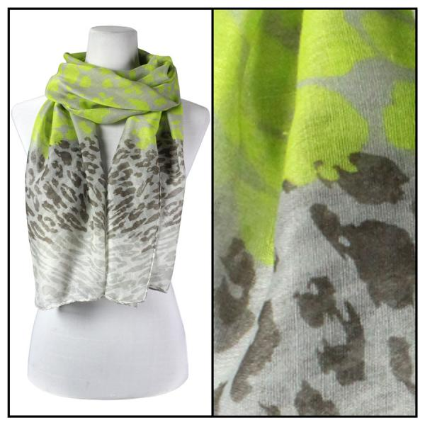 wholesale Cotton Feel Oblong Summer Scarves  Neon Leopard 3169 - Green -