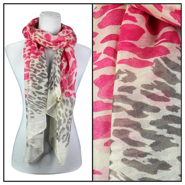 wholesale Cotton Feel Oblong Summer Scarves  Neon Leopard 3169 - Pink Cotton Feel Oblong Summer Scarf -