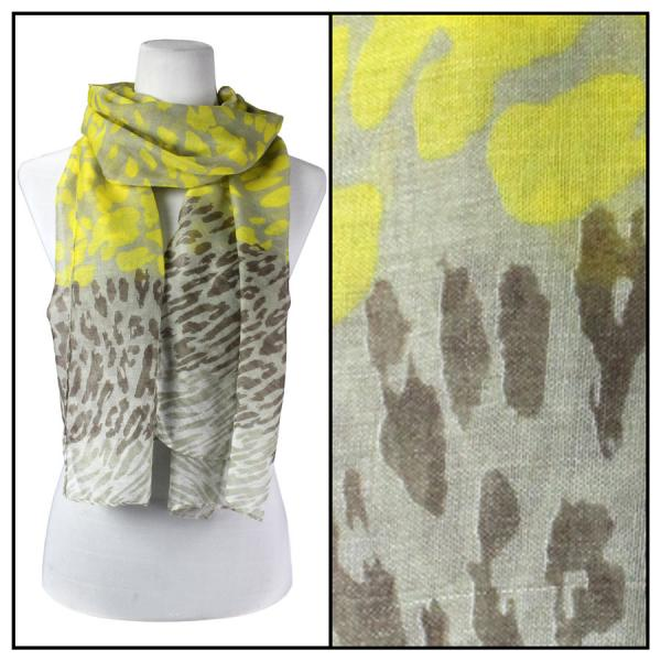 wholesale Cotton Feel Oblong Summer Scarves  Neon Leopard 3169 - Yellow -