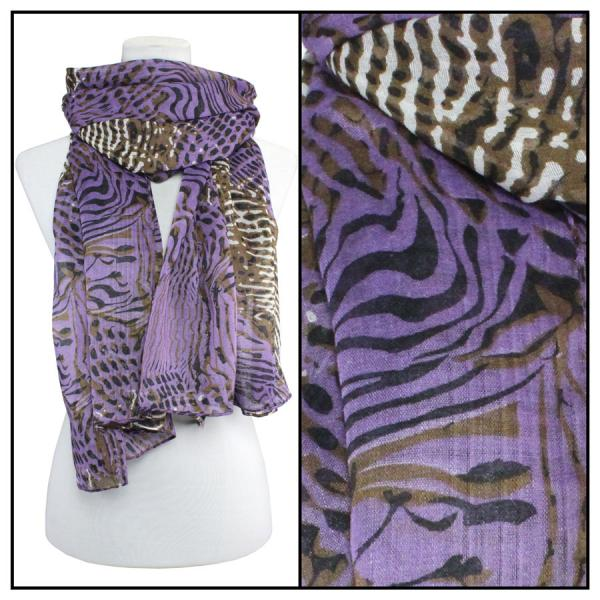 wholesale Cotton Feel Oblong Summer Scarves  Abstract Animal 3127 - Purple -