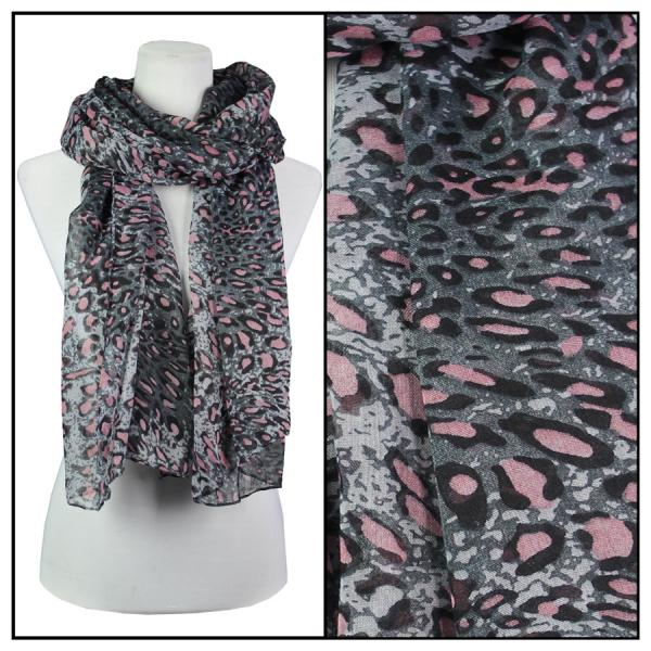 wholesale Cotton Feel Oblong Summer Scarves  Cheetah Print 3128 - Grey -