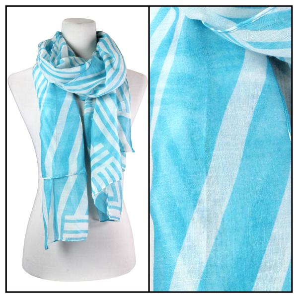 wholesale Cotton Feel Oblong Summer Scarves  Geometric Print 3716 - Aqua -