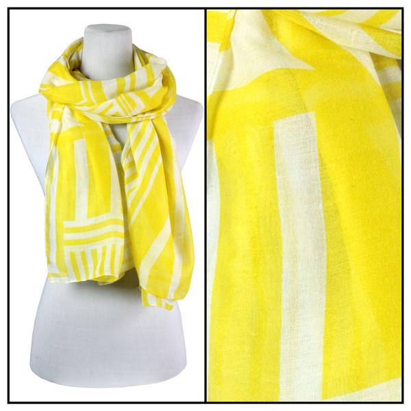 wholesale Cotton Feel Oblong Summer Scarves  Geometric Print 3716 - Yellow -