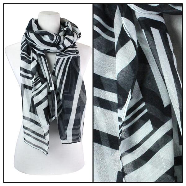 wholesale Cotton Feel Oblong Summer Scarves  Geometric Print 3716 - Black -