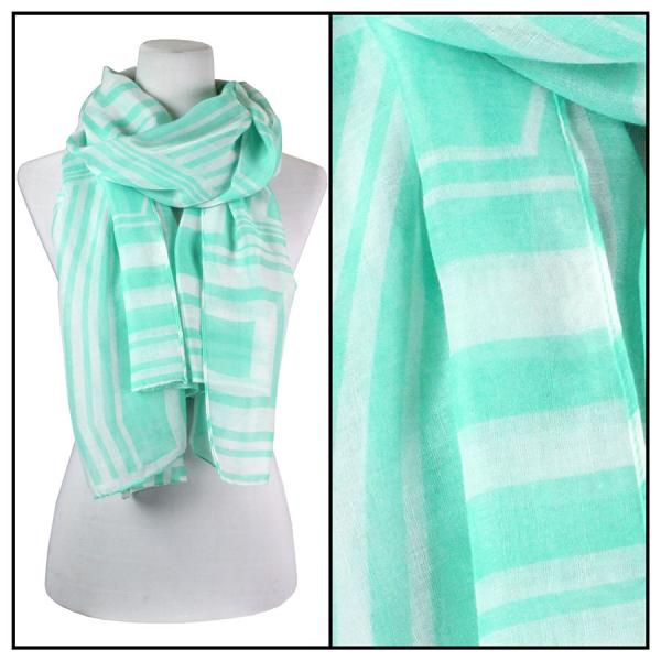 wholesale Cotton Feel Oblong Summer Scarves  Geometric Print 3716 - Mint -