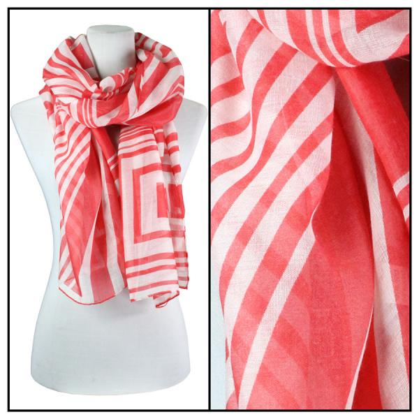 wholesale Cotton Feel Oblong Summer Scarves  Geometric Print 3716 - Coral Pink -
