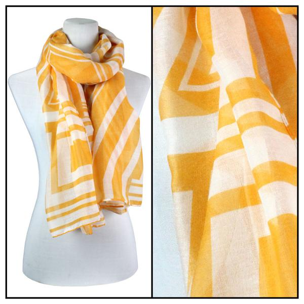 wholesale Cotton Feel Oblong Summer Scarves  Geometric Print 3716 - Orange Cotton Feel Oblong Summer Scarf -