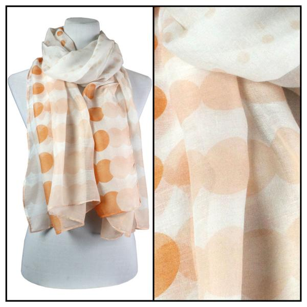 wholesale Cotton Feel Oblong Summer Scarves  Two-Tone Geometric Polka Dot 3781 - Peach Cotton Feel Oblong Summer Scarf -