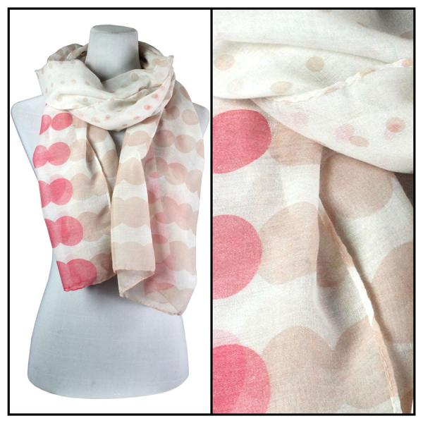 wholesale Cotton Feel Oblong Summer Scarves  Two-Tone Geometric Polka Dot 3781 - Coral -