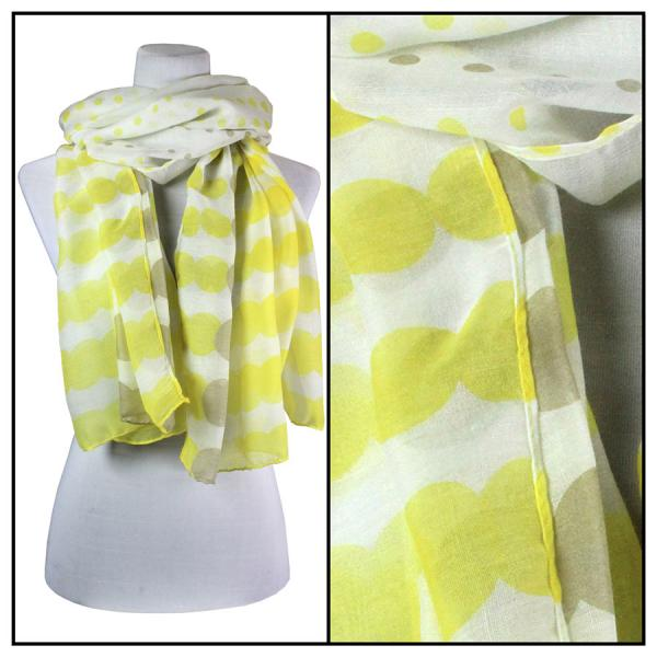 wholesale Cotton Feel Oblong Summer Scarves  Two-Tone Geometric Polka Dot 3781 - Yellow -