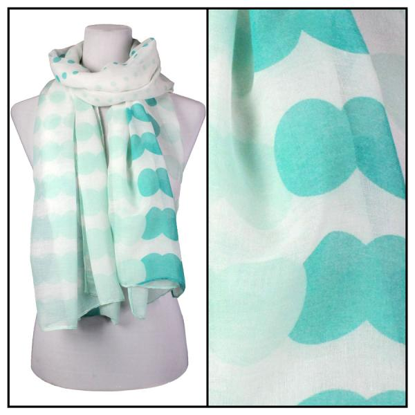 wholesale Cotton Feel Oblong Summer Scarves  Two-Tone Geometric Polka Dot 3781 - Mint Cotton Feel Oblong Summer Scarf -
