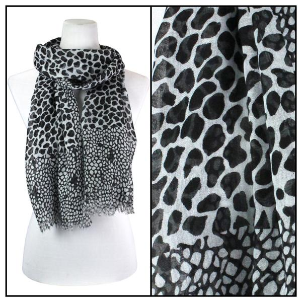 wholesale Cotton Feel Oblong Summer Scarves  Giraffe Print 3775 - Black -