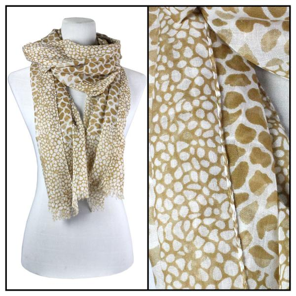 wholesale Cotton Feel Oblong Summer Scarves  Giraffe Print 3775 - Beige Cotton Feel Oblong Summer Scarf -