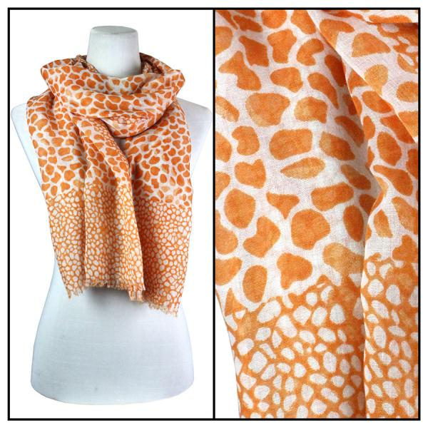 wholesale Cotton Feel Oblong Summer Scarves  Giraffe Print 3775 - Orange Cotton Feel Oblong Summer Scarf -