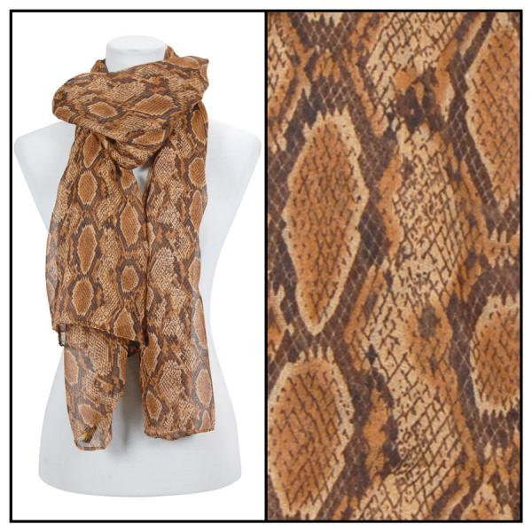 wholesale Cotton Feel Oblong Summer Scarves  Reptile Print 4116 - Brown -