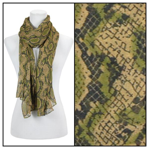 wholesale Cotton Feel Oblong Summer Scarves  Reptile Print 4116 - Green -
