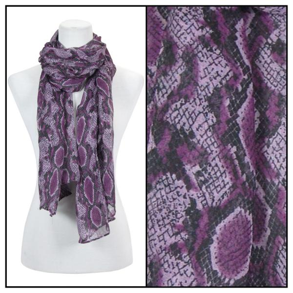 wholesale Cotton Feel Oblong Summer Scarves  Reptile Print 4116 - Purple -