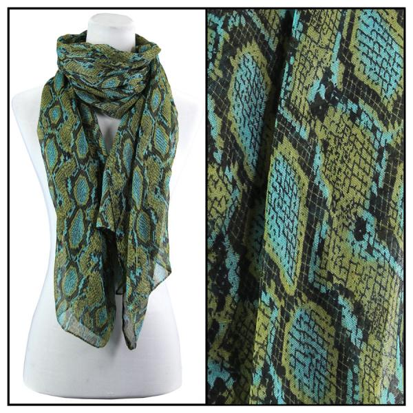 wholesale Cotton Feel Oblong Summer Scarves  Reptile Print 4116 - Blue Cotton Feel Oblong Summer Scarf -
